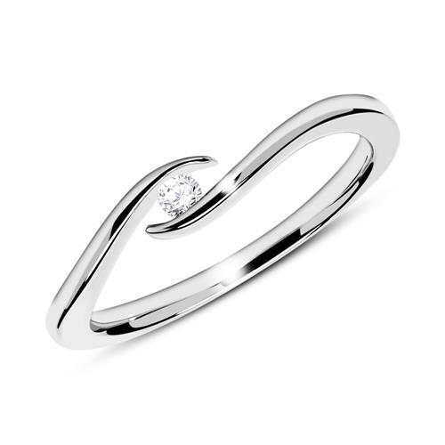 Ring aus 14K Weißgold mit Diamant 0,05 ct.