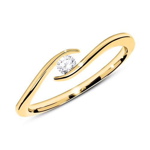 585er Goldring mit Diamant 0,10 ct.