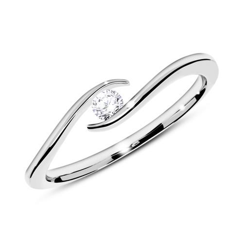 Ring aus 18K Weißgold mit Diamant 0,10 ct.