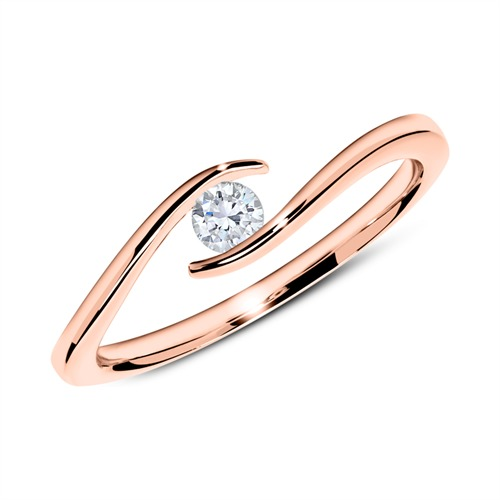14K Roségold Ring mit Diamant 0,15 ct.