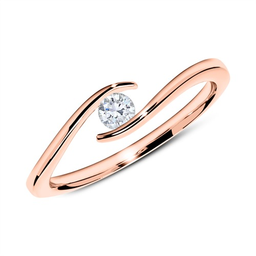Verlobungsring aus 18K Roségold mit Diamant 0,15 ct.
