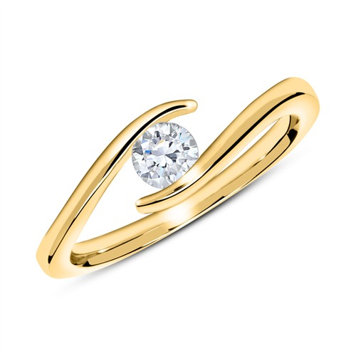 Ring Of 14ct Gold With Diamond 0,25 ct.