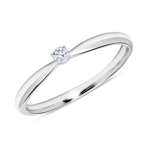 Verlobungsring aus 750er Weißgold mit Diamant 0,05 ct.
