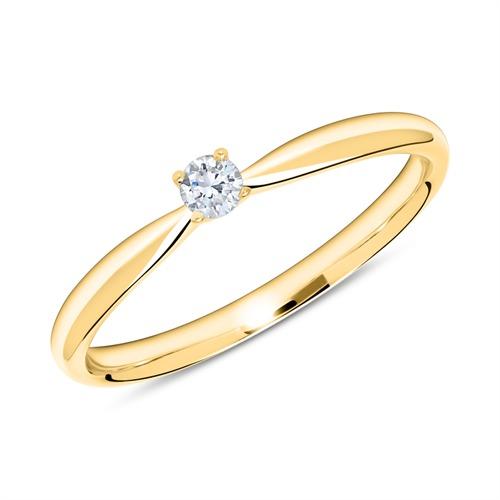 Verlobungsring aus 585er Gold mit Diamant 0,10 ct.