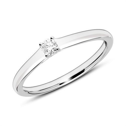 Verlobungsring aus 14K Weißgold mit Diamant gravierbar