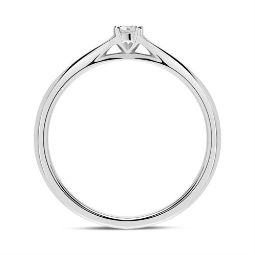 Gravur Ring aus 585er Weißgold mit Diamant