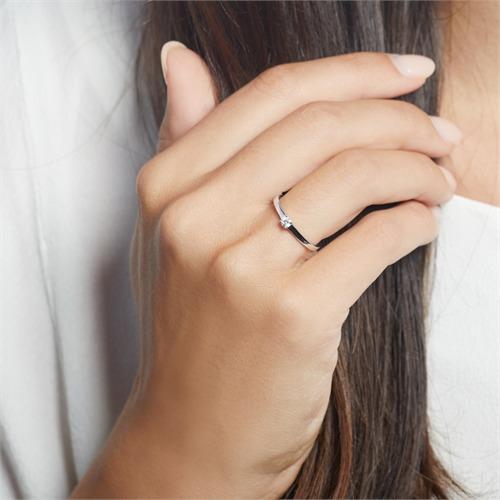 Diamant Verlobungsring aus 585er Weißgold gravierbar