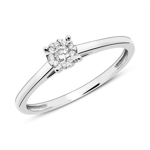 14K Weißgoldring mit Diamanten