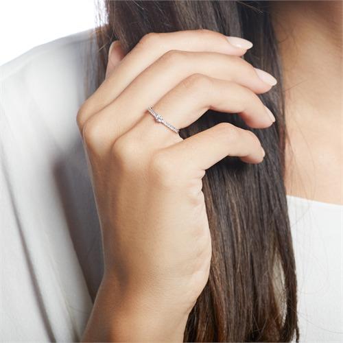 14K Weißgold Verlobungsring mit Diamanten gravierbar