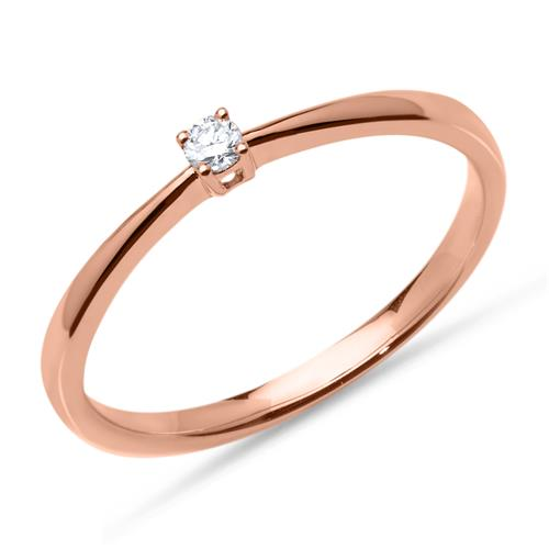 585er Roségold Verlobungsring mit Diamant 0,05 ct.