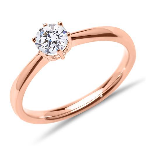 585er Roségold Verlobungsring mit Diamant, lab-grown