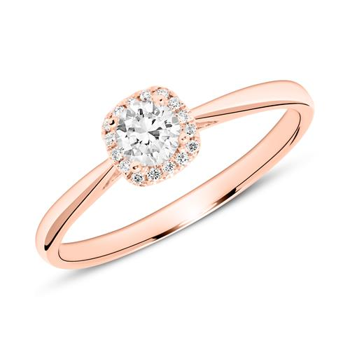 14K Roségold Verlobungsring mit Diamanten