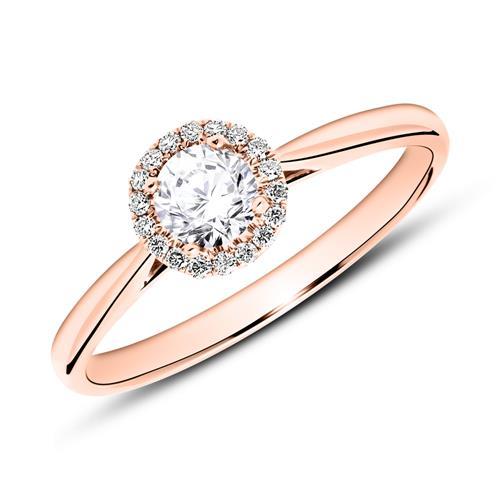 Verlobungsring aus 14K Roségold mit Diamanten