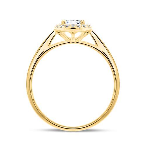 585er Gold Haloring mit Diamanten