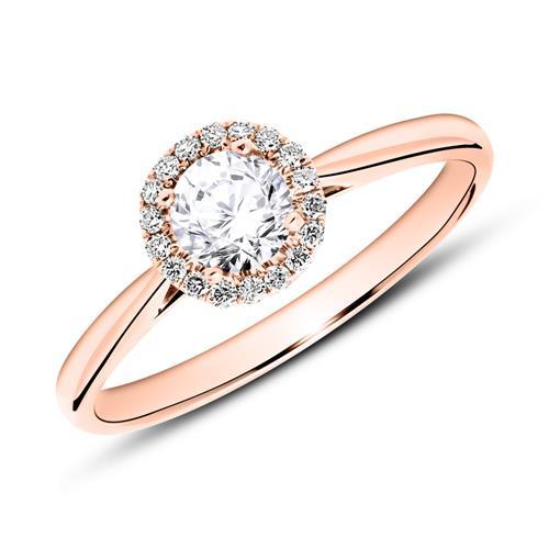 585er Roségold Haloring mit Diamanten