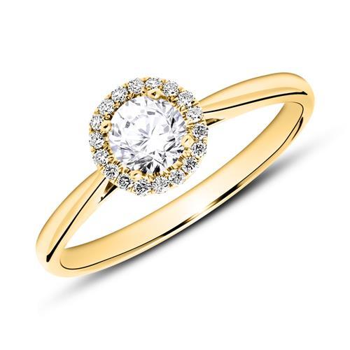 750er Gold Haloring mit Diamanten