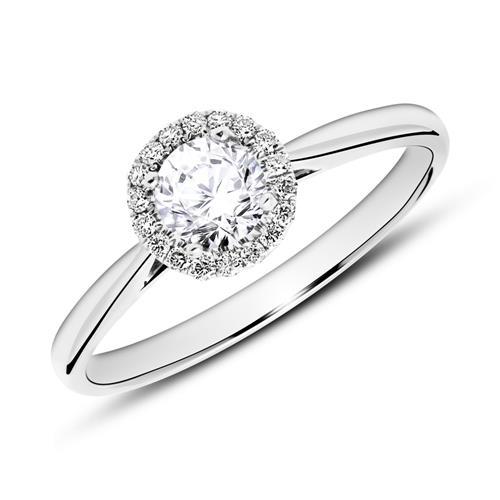 750er Weißgold Haloring mit Diamanten