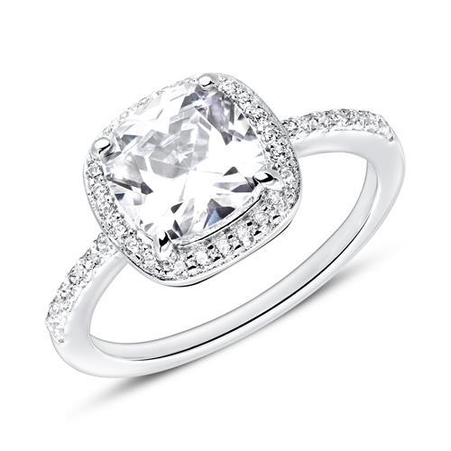925er Silber Ring mit weißen Zirkonia, gravierbar