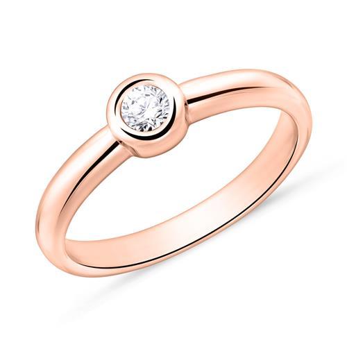 Artikel klicken und genauer betrachten! - Solitärring aus 18K Roségold mit Diamant | im Online Shop kaufen