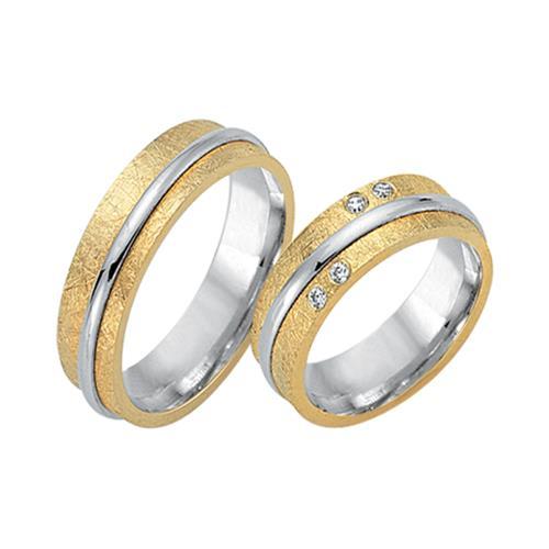 Eheringe 750er Gelb- Weissgold 4 Diamanten
