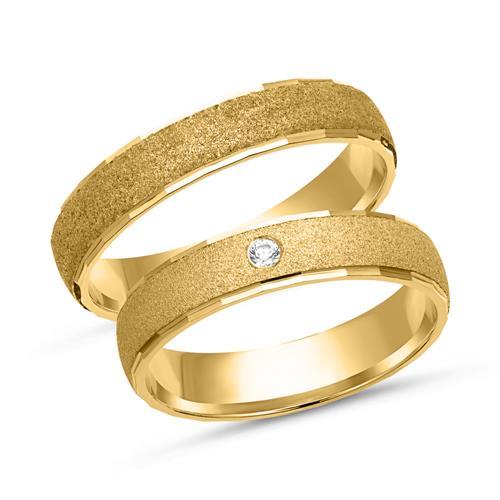 Eheringe gold matt schmal  Eheringe 750er Gelbgold mit Brillant WR0079-7s