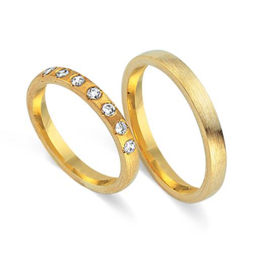 Eheringe 750er Gelbgold 7 Diamanten