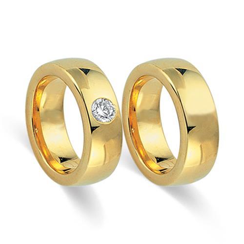 Eheringe gold mit 3 diamanten  Trauringe 750er Gelbgold mit Diamant WR0109-7s