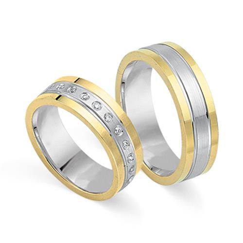 Eheringe 750er Gelb- Weissgold 24 Diamanten