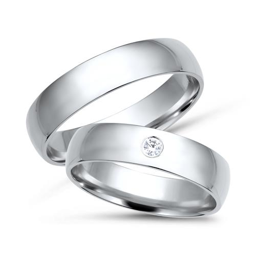 White Gold 8ct Wedding Rings With Diamond