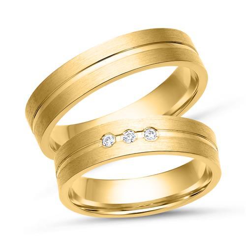 Eheringe gold mit 3 diamanten  Eheringe 333er Gelbgold 3 Diamanten WR0221-3s