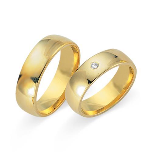 Eheringe 585er Gelbgold mit Diamant