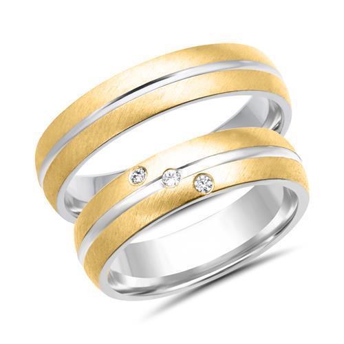 Eheringe gold mit 3 diamanten  Eheringe 333er Gelbgold 3 Diamanten WR0282-3s