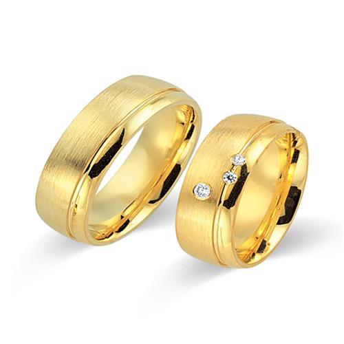 Eheringe gold mit 3 diamanten  Eheringe 585er Gelbgold 3 Diamanten WR0285-5s
