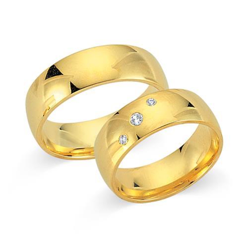 Eheringe gold mit 3 diamanten  Trauringe 750er Gelbgold 3 Diamanten WR0287-7s