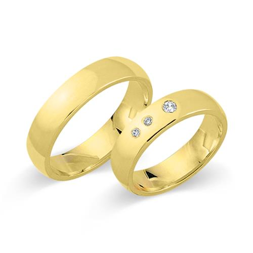 Eheringe gold mit 3 diamanten  Eheringe 750er Gelbgold 3 Diamanten WR0288-7s