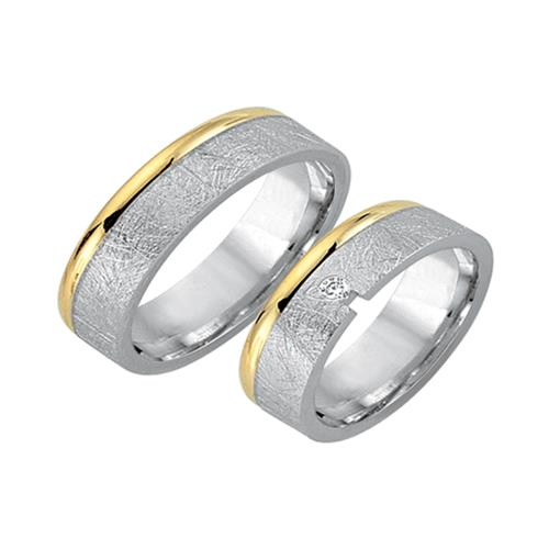 Trauringe 333er Gelb- Weissgold mit Diamant