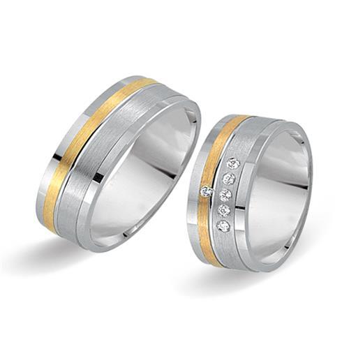 Eheringe 750er Gelb- Weissgold 6 Diamanten