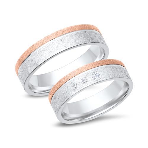 Eheringe rotgold silber  Eheringe WR0355-3s aus 333er Weiss- und Rotgold 3 Diamanten