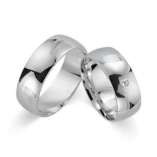 Trauringe 585er Weissgold mit Diamant