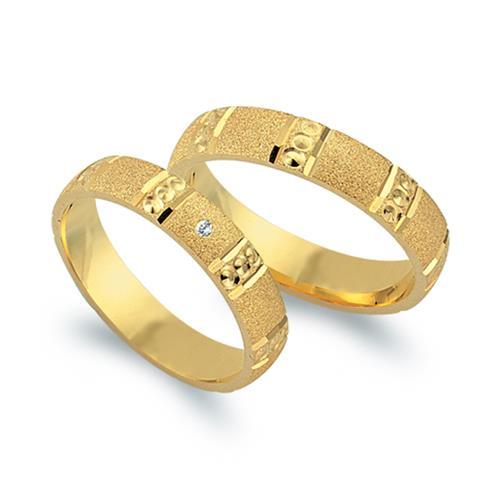 Trauringe 750er Gelbgold mit Diamant
