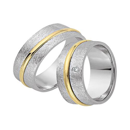 Eheringe 333er Gelb- Weissgold mit Diamant