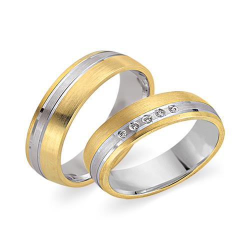 Trauringe 750er Gelb- Weissgold 5 Diamanten