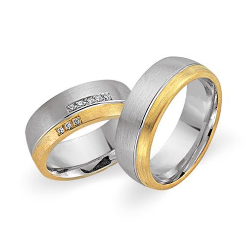 Eheringe 750er Gelb- Weissgold 8 Diamanten