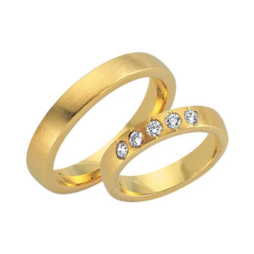 Eheringe gold mit 5 diamanten  Eheringe 585er Gelbgold 5 Diamanten WR0705-5s