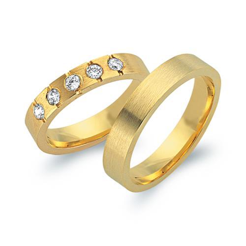 Eheringe 333er Gelbgold 5 Diamanten