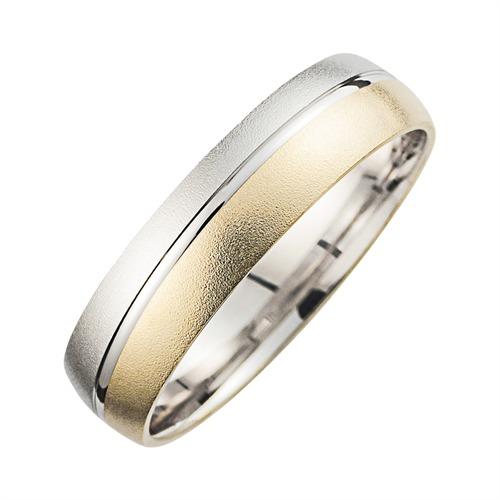 Eheringe Gelb- und Weißgold mit Diamant Breite 5,5 mm