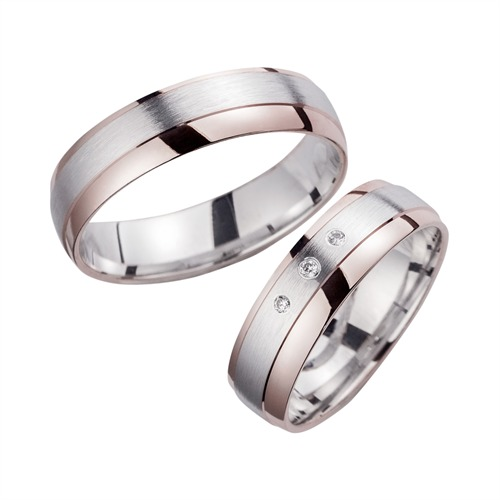 Wedding Rings Red And White Gold With Brilliant Width 5.5 mm