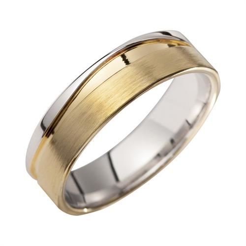 Eheringe Gelb- und Weißgold mit Diamanten Breite 6 mm