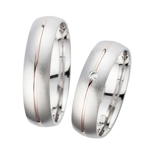 Wedding Rings Red And White Gold With Diamond Width 5.5 mm