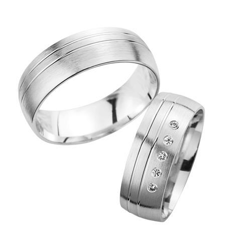 Ringe - Eheringe Weißgold mit Brillanten Breite 7 mm  - Onlineshop The Jeweller